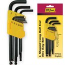 9 Pc L Shaped Ball Hex Key Set-English