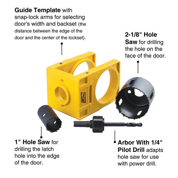 "Ivy Classic Lock Install Kit w//Guide wood doors 1-7//8/"" Deep Cut"